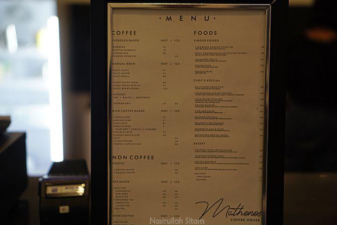 Daftar Harga dan Menu di kedai kopi Mathonos Coffee House Jogja
