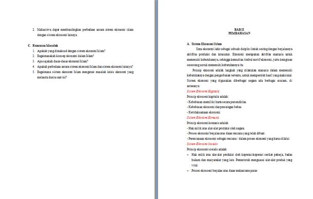 Contoh Makalah Ekonomi Islam Format Doc Docx Microsoft Word