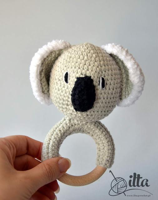 niemowlę szydełko grzechotka zabawka koala miś