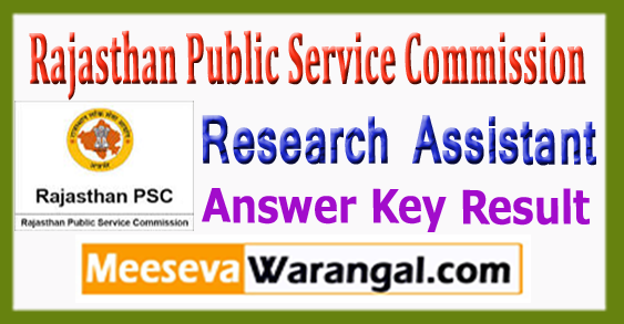 RPSC Research Assistant Answer Key Result Expected Cutoff 2017