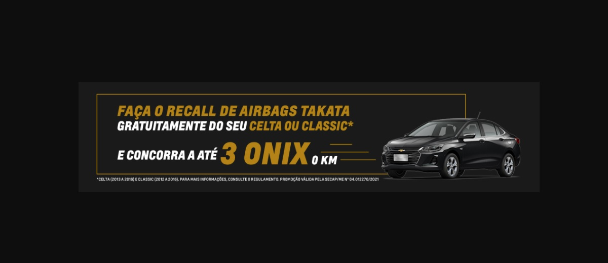 Sorteio 3 Carros Onix 0KM Seu Chevrolet Seguro Promoção