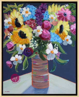 You Are My Sunshine mixed media floral painting by Pennsylvania artist Merrill Weber