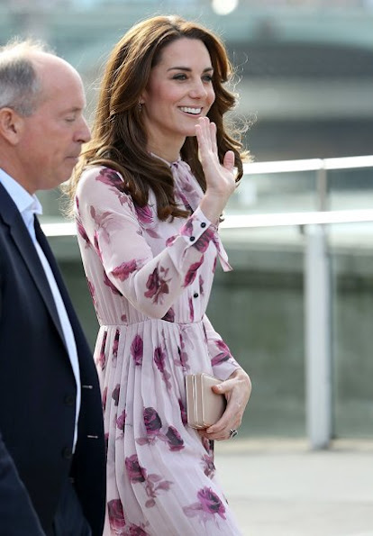Kate Middleton wore Kate Spade New York Encore Rose Chiffon Dress, Kiki McDonough Morganite Earrings, GIANVITO ROSSI Suede Pumps, LK BENNETT Nina Clutch