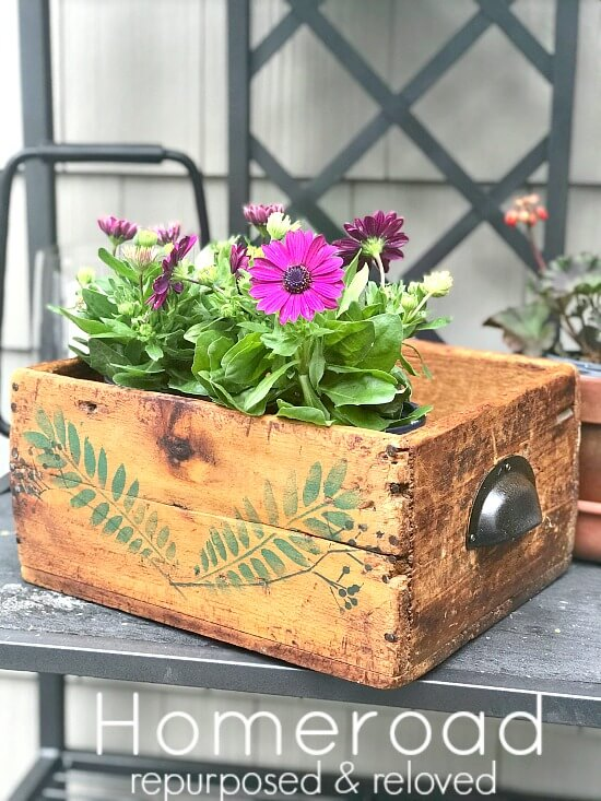 DIY Stenciled Rustic Crate with flowers