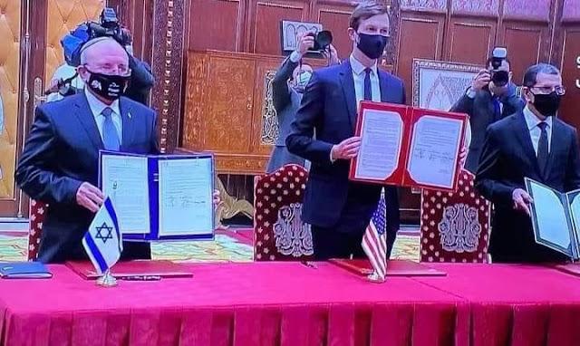الاعلان رسمياً عن اعتراف إسرائيل بسيادة المغرب الكاملة على صحرائه ضمن مذكرة تفاهم وقعها العثماني عن الجانب المغربي.