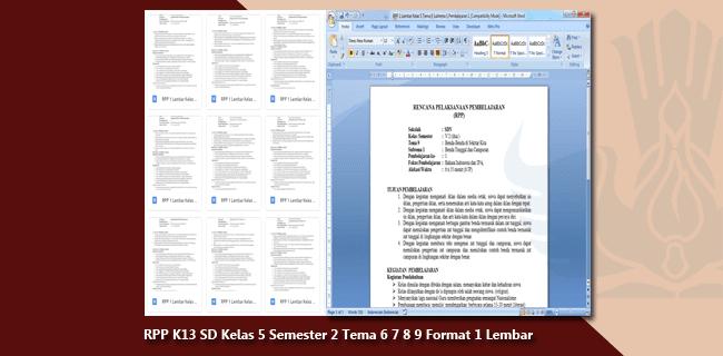 RPP K13 SD/MI Kelas 5 Semester 2 Tema 6 7 8 9 Format 1 Lembar