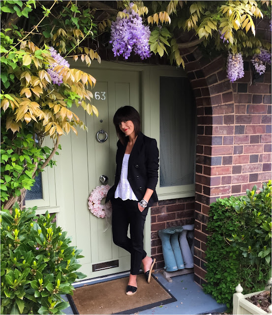 My Midlife Fashion, Mango embroidered top, marks and spencer limited edition double breasted blazer, zara cigarette pants, macarenya playa black glitter espadrilles