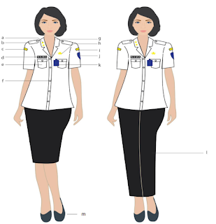 pakaian dinas PNS 2020 warna putih hitam perempuan