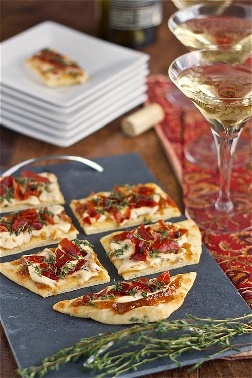 Smoky bourbon brie flatbread with fig jam and crispy prosciutto, an easy appetizer
