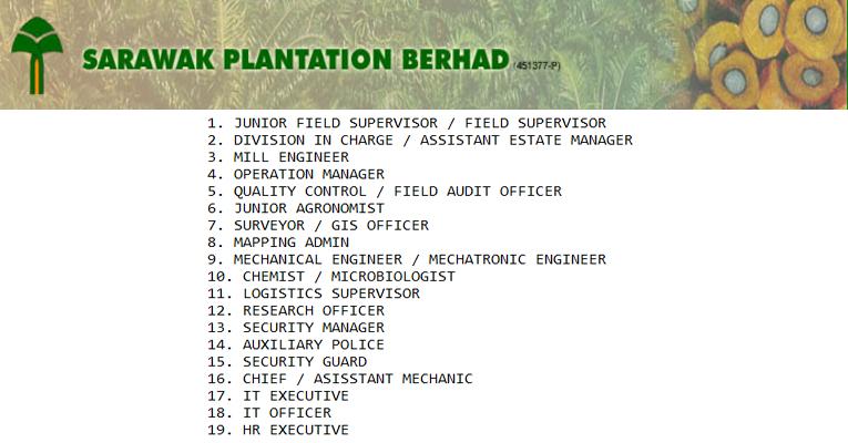 Kekosongan Terkini di Sarawak Plantation Berhad
