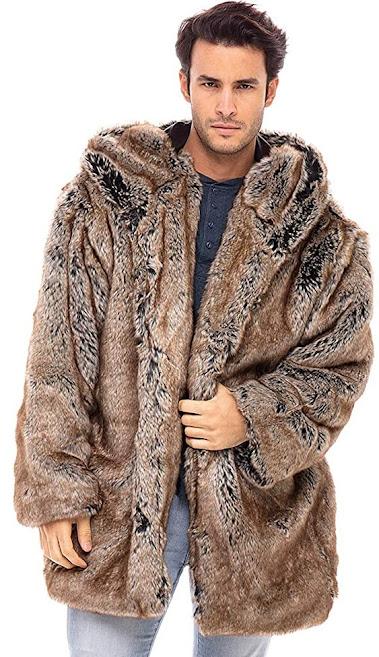 Hooded Faux Fur Coats Jackets For Men