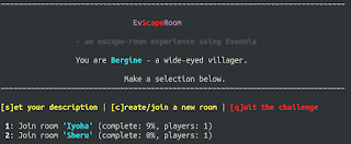 The main Evscaperoom menu, showing the option to create a new room or join one of two existing rooms.