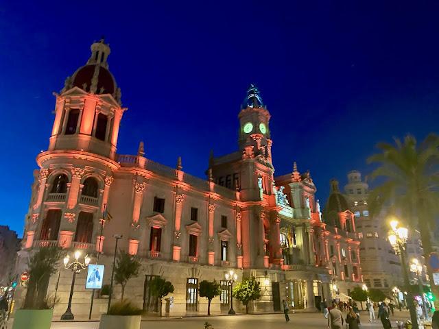 Valencia City Hall at night, Spain