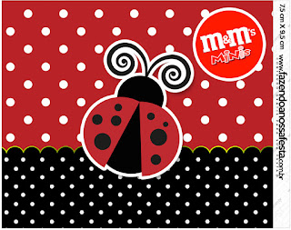 Ladybug Party Free Printable M&M Labels.