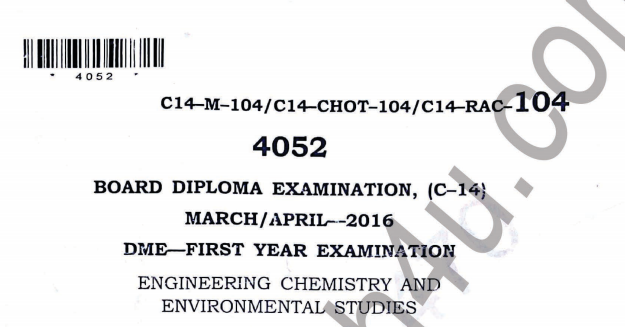 Sbtet Engineering Chemistry Previous Question Paper c14 Mechanical March/April-2016