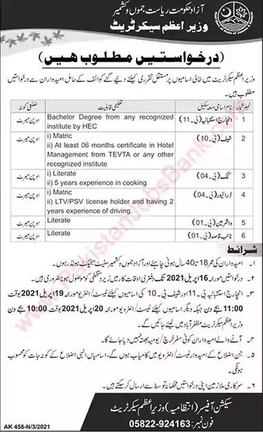 New Jobs in Prime Minister Secretariat AJK Jobs 2021