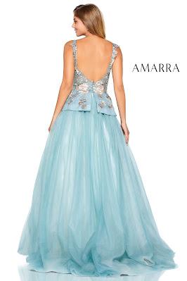 Embroidered Prom Dress Amarra sage Color Back side