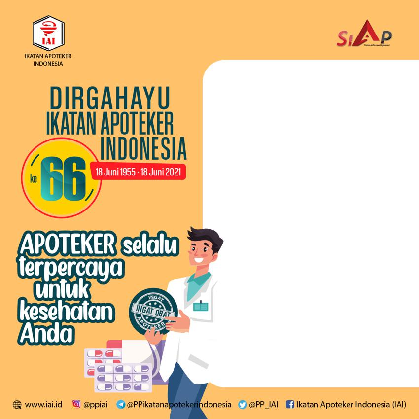 Template Desain Frame atau Bingkai Foto Twibbon Ucapan Ulang Tahun Ikatan Apoteker Indonesia 2021