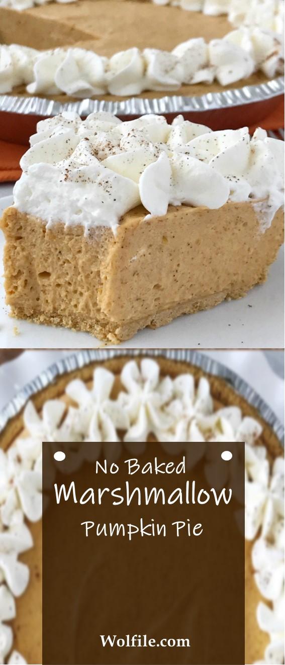 NO BAKE MARSHMALLOW PUMPKIN PIE #Marshmallow #Pumpkin #Pie