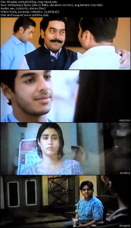 Dhadak 2018 pDVDRip 720p Hindi 900mb