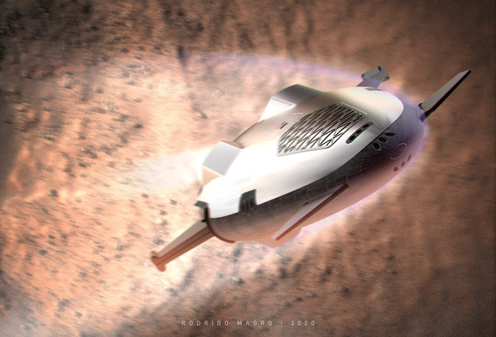 SpaceX orbital shuttle launching from Mars by Rodrigo Magro