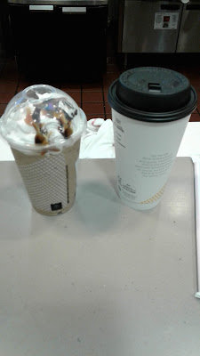 McDonald's large hot tea and medium Chocolate Chip Frappe