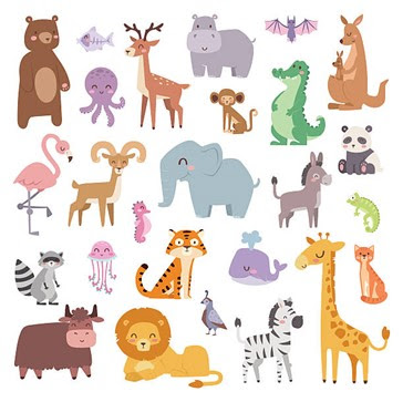 Viidakon eläimiä piirrettyinä kuvina