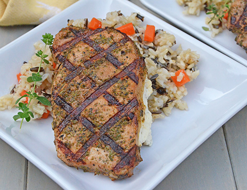 Smithfield Roasted Garlic and Herb Pork Chops Stuffed with Boursin Cheese #realflavorrealfast