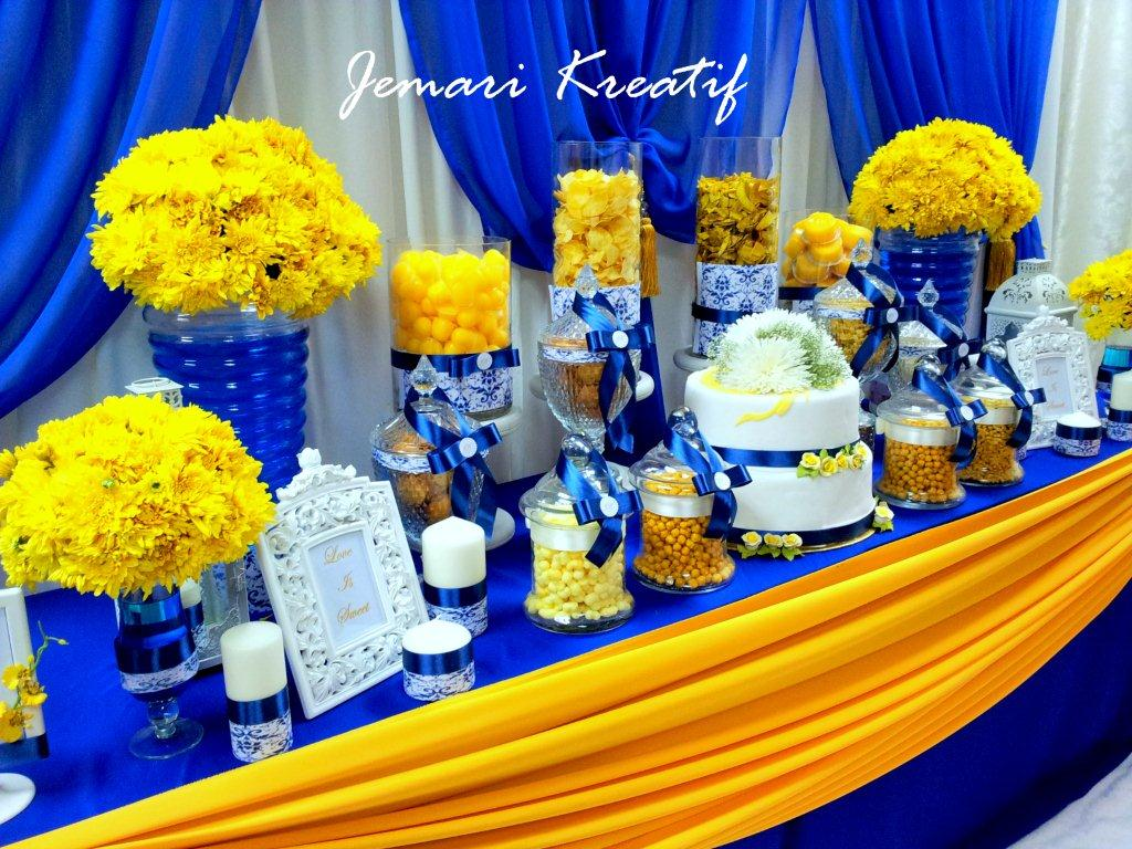 jemari kreatif design candy buffet royal blue and mustard yellow theme. Black Bedroom Furniture Sets. Home Design Ideas