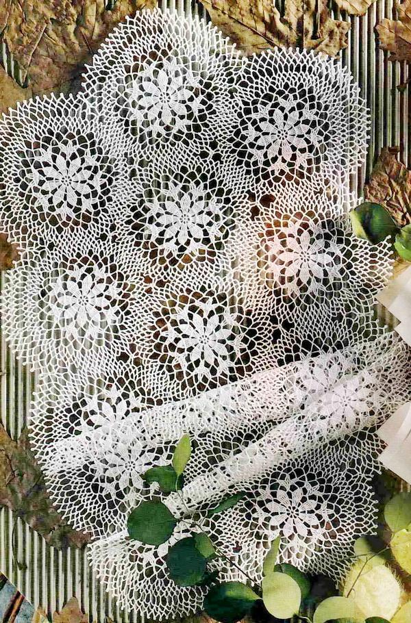 Crochet Pattern Of Circular Motif Table Runner