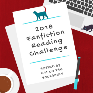 2018 Fanfiction Reading Challenge title image with cat-headed note paper
