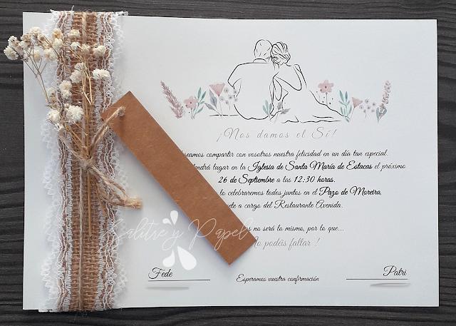invitaciones de boda sencillas con toque rústico