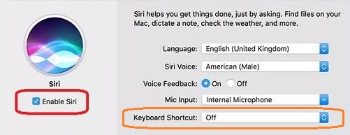 Turn Siri keyboard shortcut command off on macOS Sierra?