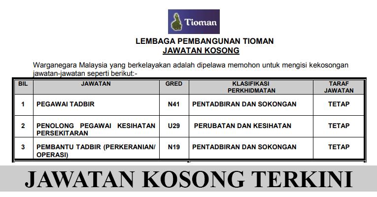 Kekosongan Terkini di Lembaga Pembangunan Tioman