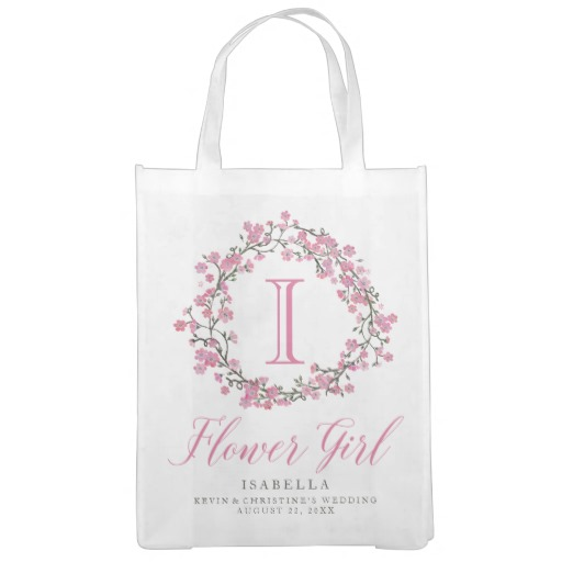 Personalized Floral Wreath Monogram Flower Girl Tote Bag