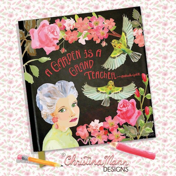 Rose's Garden: a journal cover featuring gouache paintings by Christina Mann Designs