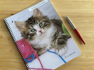 Spiral notebook with kitten photo for Nanowrimo