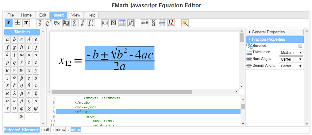 MathML for Web: Javascript Math Editor - version 2 0 - free to download