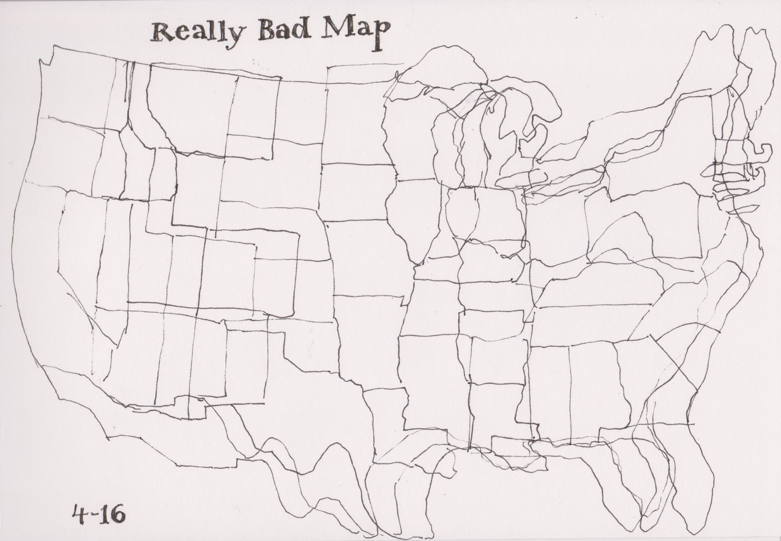 states from memory this was such a spectacular failure that i drew over it again and again trying to get a bit closer still need a bit of work on