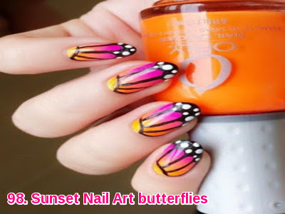 Sunset Nail Art butterflies