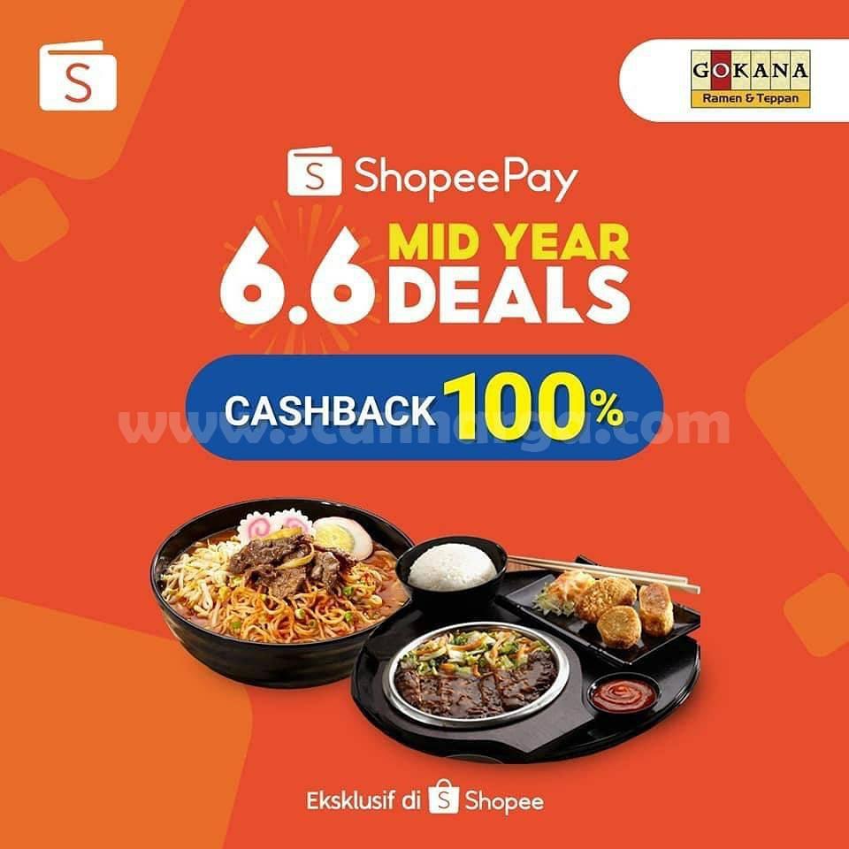 Promo GOKANA ShopeePay Mid Year Deals 6.6 Cashback hingga 100%