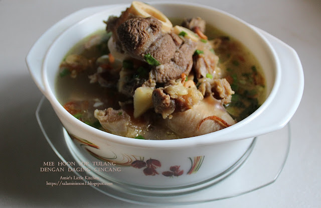 Resipi Mee Hoon Sup Tulang dengan Daging Cincang