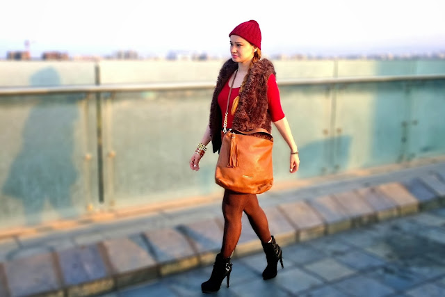 Oxblood Top, Faux Fur Vest,Faux Leather Skirt, Michael Kors Bag