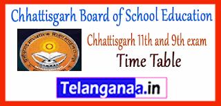 Raipur Chhattisgarh Board 9th 11th Class Exam Time Table