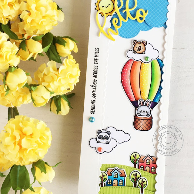 Sunny Studio Stamps: Balloon Rides Country Scenes Slimline Dies Everyday Card by Candice Fisher