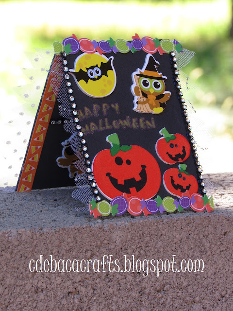 Happy halloween handmade card with pumpkins by CdeBaca Crafts.