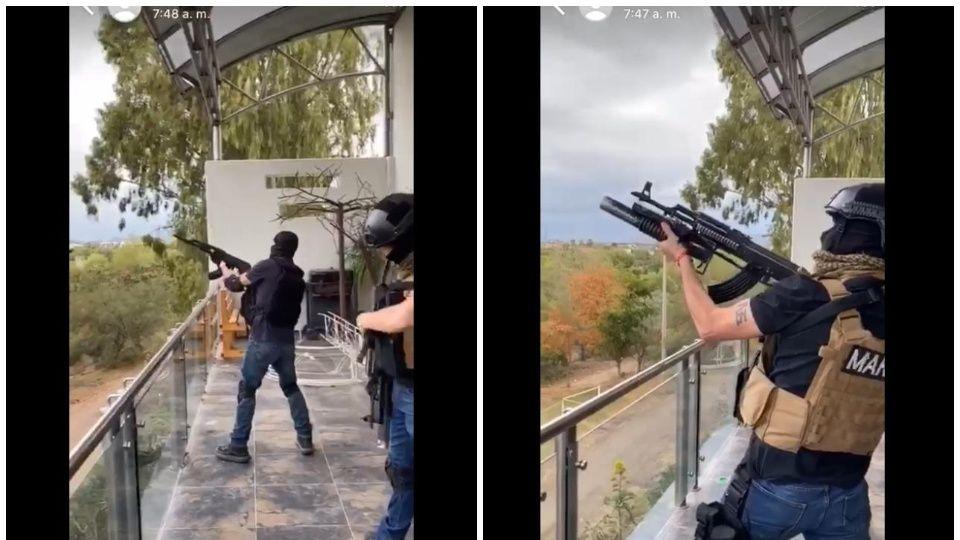 Vídeo: Sicarios con chalecos de la MARINA realizan disparos al aire en Culiacán