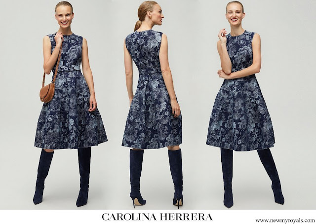 Queen Mathilde wore CH Carolina Herrera floral jacquard dress