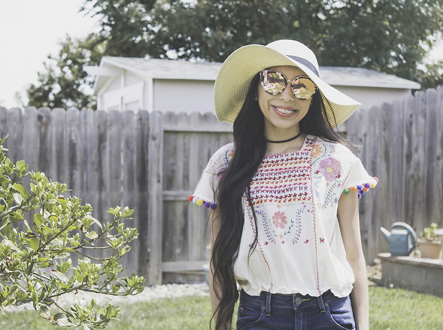 craft challenge faux embroidery tutorial refashion sunglasses floppy hat