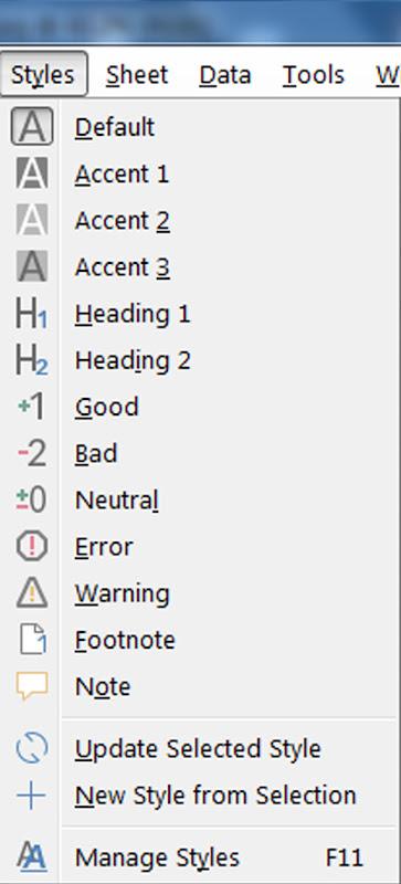 Style Menu of LibreOffice Calc